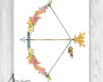 Bow and Arrow Art Print w Watercolor Autumn Leaves, Bow and Arrow Art Print, Boho Arrow Art, Tribal Arrow Art, Bow & Arrow Fall Decor