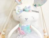 Blue Bloom Bunny Doll || Handmade Heirloom Bespoke Treasure Keepsake Baby Girls Dolly Decor Gift