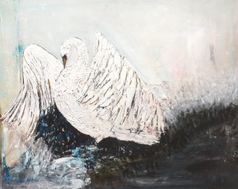 White Swan Abstract Painting Large Wall Art Canvas Paintings Acrylic Painting Original Artwork Home Decor Fine Art UK Art Original Painting