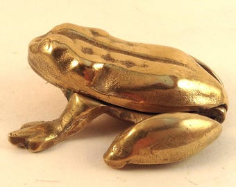 Brass Frog Key Safe or Trinket Box/ Paper Weight/Gift Box/Frog Collectible