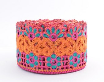 Lace Trim, Embroidered Lace, Embroidery Lace Trim, Indian Border, Indian Trim, Floral, Pink, Turquoise Green, Orange- 1 meter