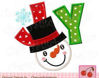 Snowman JOY, Christmas Joy Machine Embroidery Applique Design CH0080-approximate 4x4 5x5 6x6 inch