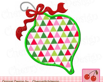 Christmas Ornament Machine Embroidery Applique -approximate 4x4 5x5 6x6""