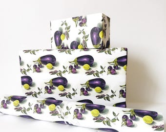 gift wrapping paper printed roll eggplant and lime purple yellow white green 24x33 inch A1 size - set of 3