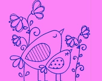 Dreaming Birds Instant Download Machine Embroidery Designs - Applique Embroidery Design 53