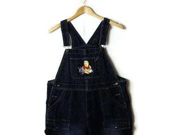 Winnie the pooh Denim Bib Shorts /checked overalls/All in One Carpenter/Farmer/Gardening/size L*