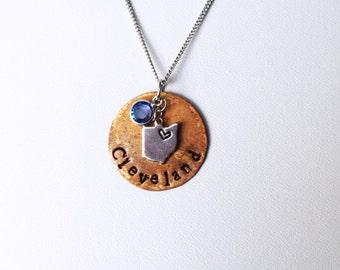 Hand Stamped Necklace | Cleveland | Mixed Metal Pendant
