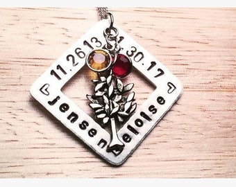 "Hand Stamped Family Tree Necklace | 1.125"" Names Square Pendant w/ Swarovski Birthstones 