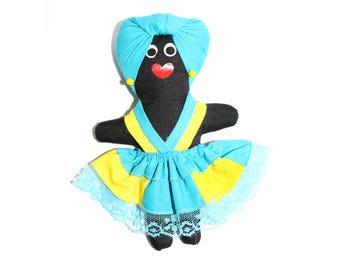 "Vintage Caribbean Rag Doll. 6"" Rag Doll. Small Doll. Caribbean Doll. World Doll. Hand Made Doll. Folk Art Doll. Caribbean Folk Art. Doll."