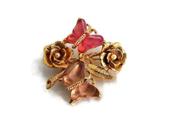 Vintage Lia Pink and Gold Toned Butterfly Brooch/ Flower and Butterfly Brooch with Pearl Accents/ Vintage Fashion Jewelry/ October Birthday