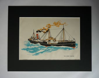 1940s Antique Steam Coaster Print, Available Framed, Ship Art, British Nautical Gift, Boys' Bedroom Wall Art, Maritime Decor Steamer Picture