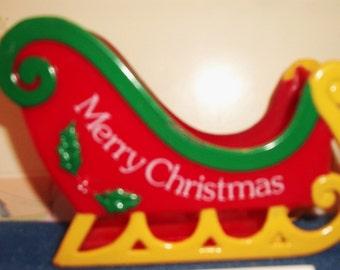 Vintage Plastic Santa's Sleigh J.S.N.Y Retro Christmas Decor Festive Holiday