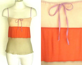 CHANEL 90s Camisole Blouse 3 Tone Sheer Silk Cami Vintage Tank Top S Free Domestic and Discounted International Shipping