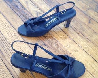 1980s Peep Toe Strappy Heels, Size 7.5 N