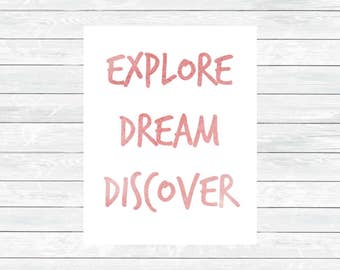 Explore Dream Discover Print - Woodland Decor - Kids Room Print - Camper Wall art - Nursery printable art - Woodland Nursery Decor - Digital