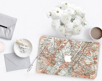 Platinum Edition Old New York Manhattan Map with w/Rose Gold Edge Hybrid Hard Case for Apple Mac Air & Mac Retina , New Macbook 2016 Touch