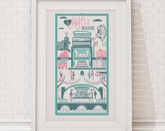South Bank Print | London illustration | South Bank illustration | South London print | London gift | Housewarming gift | London art