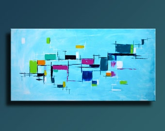 ABSTRACT PAINTING Turquoise Blue Orange Magenta Green Painting Original Canvas Art Modern Acrylic Painting 48x24 Wall Art - Unstretched- 34C