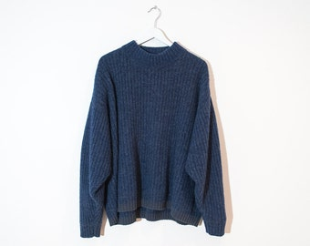 on sale - speckled blue mock neck ribbed knit / unisex long sleeve pullover sweater / size XL