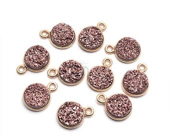 4th July 30% OFF Rose Gold Druzy Connector, 8mm Round Shape Gold Plated Single Bail Connector Pendant 1pc. (RZ-11202)