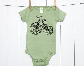 Tricycle Organic Cotton Baby Bodysuit Trike Infant Creeper Bike One Piece Bicycle Screen Printed Baby Shower Gift