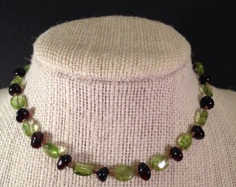 Champagne Baltic Amber and Peridot Teething Necklace 12 inches