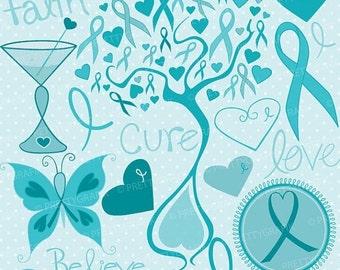 80% OFF SALE cancer clipart commercial use, vector graphics, digital clip art, digital images, cervical  - CL728