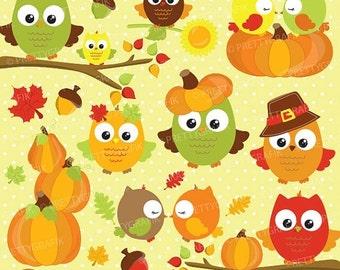 80% OFF SALE Fall owls clipart commercial use, fall season vector graphics, digital clip art, digital images - CL693