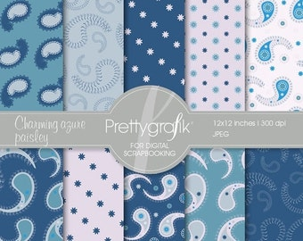 80% OFF SALE blue paisley digital paper, commercial use, scrapbook papers, background - PS527