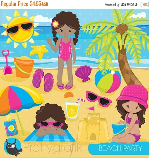 80% OFF SALE Beach party girls clipart commercial use, beach kids ...