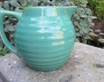 Bauer Pottery Ring Ware teal Blue Pitcher California Pottery Los Angeles