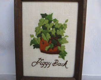 Piggy Back Plant Crewel Embroidery in Wood Frame