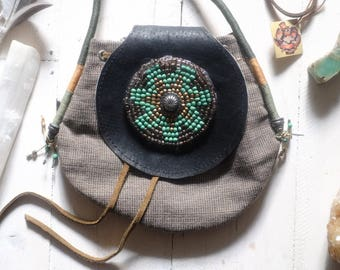 Vintage Hand Made petite bag Boho crossbody beaded drawstring Little purse Beautiful Mandala with beads.Small shoulder bag Bohemian Hippie
