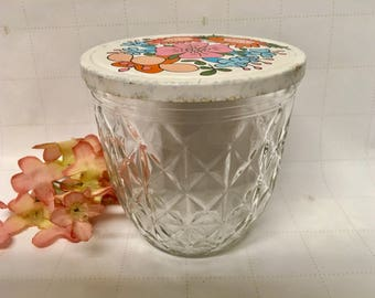 "Vintage ""BALL"" Mason Jar Quilted Crystal With Lid, 1960s Collectible/Shabby Chic/Country Cottage/USA Made/Decorative"