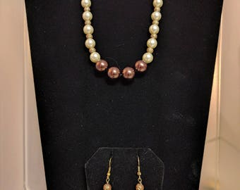 Chocolate and Champagne Colored Pearl Beaded Necklace Set