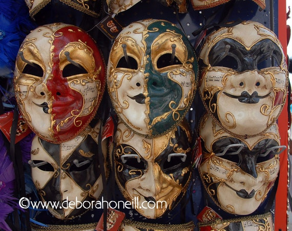 "Venice Photography - Venice Italy six masks rich colors artsy eyes faces shops ""Venice, Italy Six Masks"""