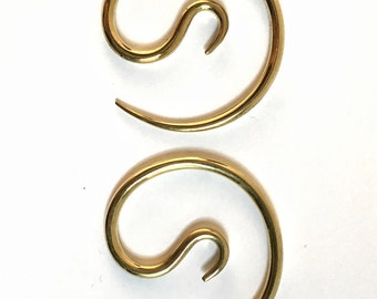 Brass Earrings, Brass Hoop Earrings, Hoop Earrings, Spiral Earrings, Tribal Earrings, Tribal Jewelry, Strechers 8 gauge, 3mm