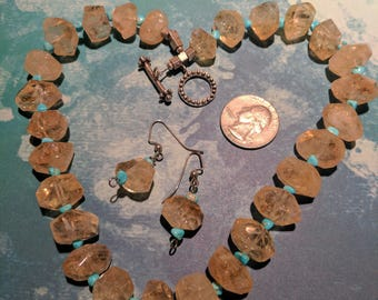 Chunky Citrine and Turquoise Necklace and Earring Set