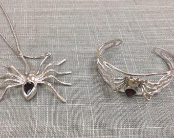 Vintage 925 Sterling Silver Spider Necklace And Bracelet Set