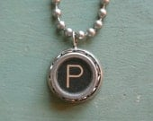 """Typewriter Letter P Necklace- Vintage, UPcycled, Authentic, Letter """"P"""" Typewriter Initial Key Necklace, A-Z available By UPcycled Works"""