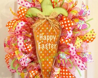 Easter Wreath/ Carrot Wreath/  Easter Deco Mesh Wreath/ Happy Easter Wreath/ Easter Door Decor