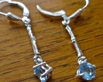 Leverback Aquamarine Earrings, 5mm Round, Natural, Set in Sterling Silver E1034