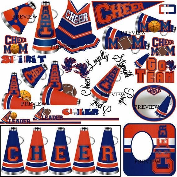 Cheerleading Blue Orange clip art party favors invites – Cheerleading Birthday Party Invitations
