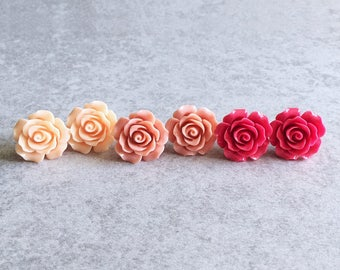 Peach · Coral Pink · Rose Red // Rose Stud Earrings - 20mm Resin Flower Cabochons, Stainless Steel Posts, Shabby Chic, Bridesmaid Jewelry