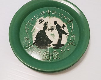 Vintage Tin Coaster Set  Green 1950's