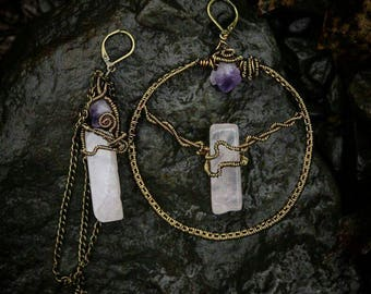 Sold***Rose Quartz & Amethyst Earrings
