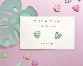 Monstera Swiss Cheese Earrings - beautiful handmade polymer clay jewellery by Clay & Clasp