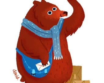 Postman Bear - 8.5 x 11
