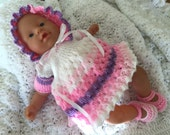 Dress outfit for 1214 baby doll or reborn. Hand knitted