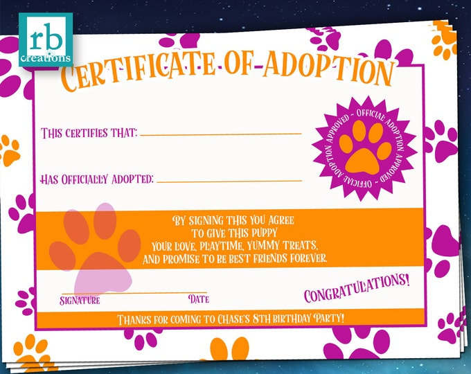 Puppy Party Adoption Certificate, Puppy Birthday, Puppy Birthday Certifcate, Puppy Adoption Certificate, Dog Party Favor - Digital Printable